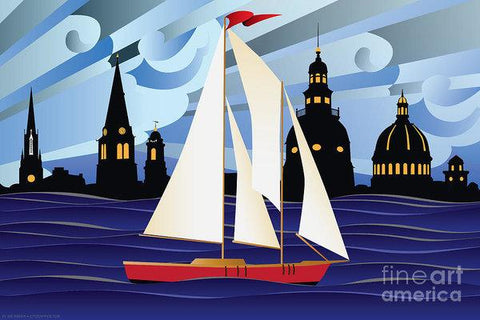 Annapolis Skyline Red Sail Boat - Art Print