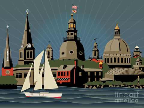 Annapolis Steeples and Cupolas Skyline - Art Print