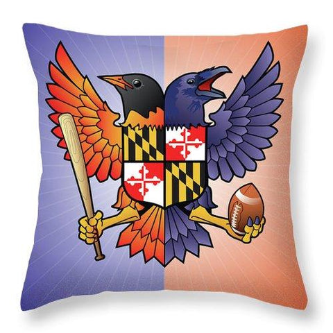 Birdland Baltimore Raven And Oriole Maryland Crest - Throw Pillow
