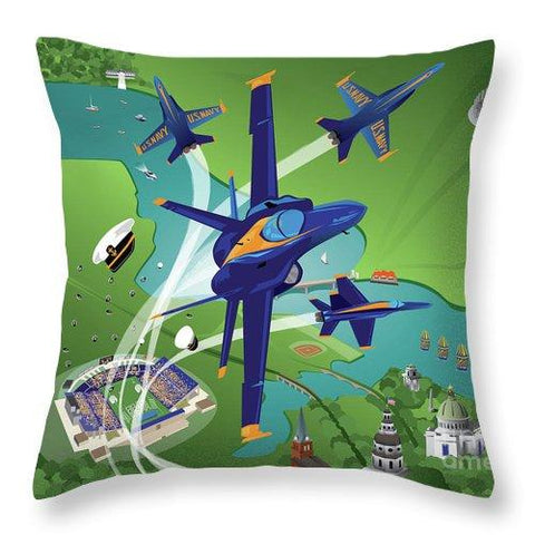 Blue Angels Over Annapolis - Throw Pillow