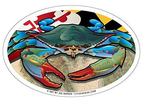 Maryland Blue Crab Oval Sticker, 6x4