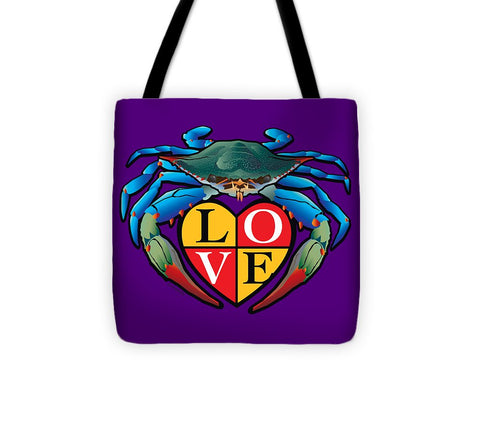 Blue Crab Love Crest - Tote Bag
