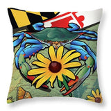 Blue Crab Maryland Black-eyed Susan - Throw Pillow