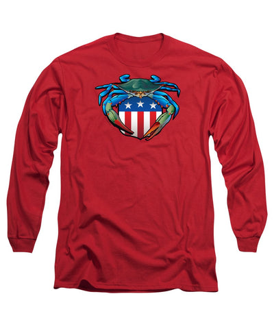 Blue Crab Usa Crest  - Long Sleeve T-Shirt
