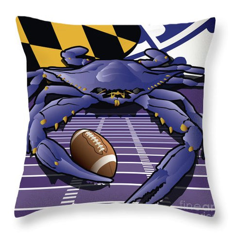 Maryland's Crab Baltimore Ravens Football - Throw Pillow