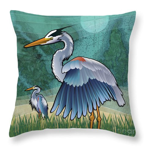 Coastal Blue Herons Of The Chesapeake Bay - Throw Pillow