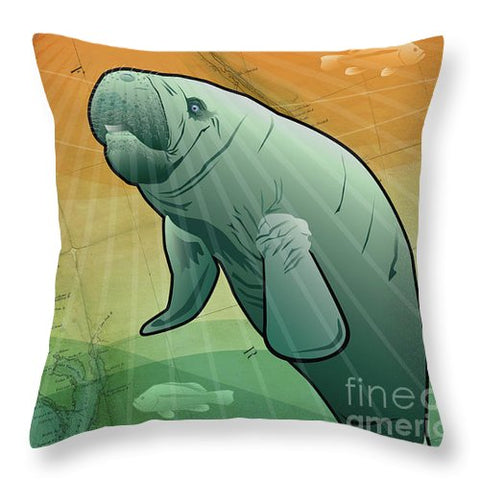 Coastal Florida Manatee - Throw Pillow