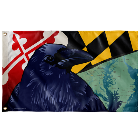 "Baltimore Raven, Large Flag, 60 x 36"" with 2 grommets"