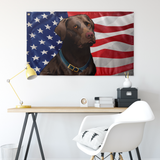 "USA Chocolate Lab, Large Flag, 60 x 36"" with 2 grommets"