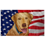 "USA Yellow Lab, Large Flag, 60 x 36"" with 2 grommets"
