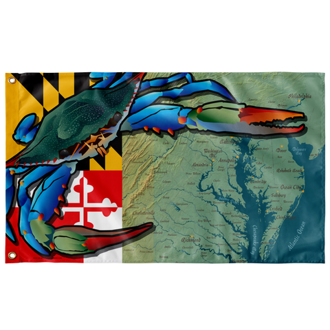 "Maryland Blue Crab, Large Flag, 60 x 36"" w/ 2 grommets"