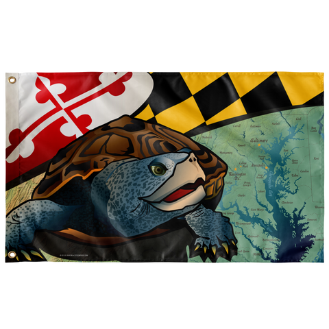 "Maryland Terrapin, Large Flag, 60 x 36"" with 2 grommets"