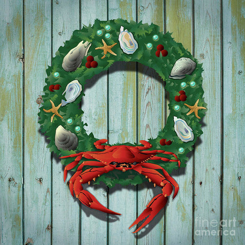 Holiday Crab Wreath - Art Print