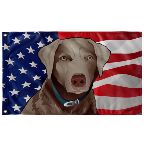 "USA Silver Lab, Large Flag, 60 x 36"" with 2 grommets"