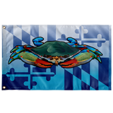 "Maryland Flag Blue Crab, Large Flag, 60 x 36"" with 2 grommets"