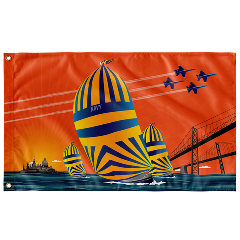 "USNA Sunset Sail, Large Flag, 60 x 36"" with 2 grommets"