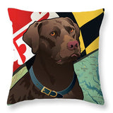Maryland Chocolate Lab - Throw Pillow