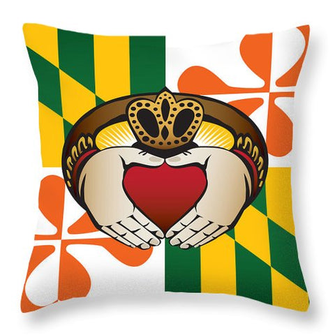 Maryland Irish Claddagh - Throw Pillow