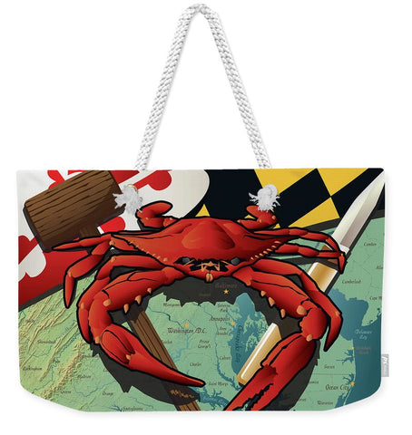 Maryland Crab Feast with Mallet and Knife - Weekender Tote Bag
