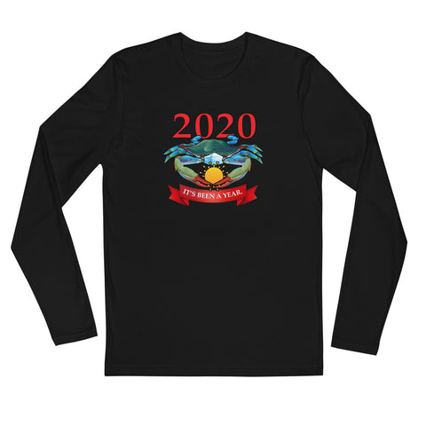 2020 Blue Crab wearing Face Mask, Long Sleeve Fitted Crew