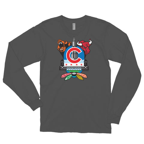 Chicago Sports Fan Crest - Long sleeve t-shirt
