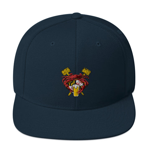 Maryland Crab Feast Crest, Embroidered Snapback Hat