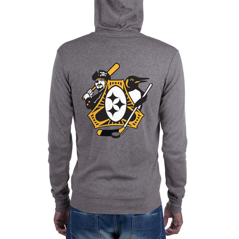 Pittsburgh - Three Rivers Roar Sports Fan Crest - Unisex zip hoodie