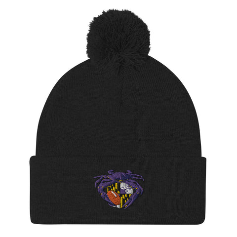Raven Crab Football Maryland Crest, Embroidered Beanie Pom-Pom
