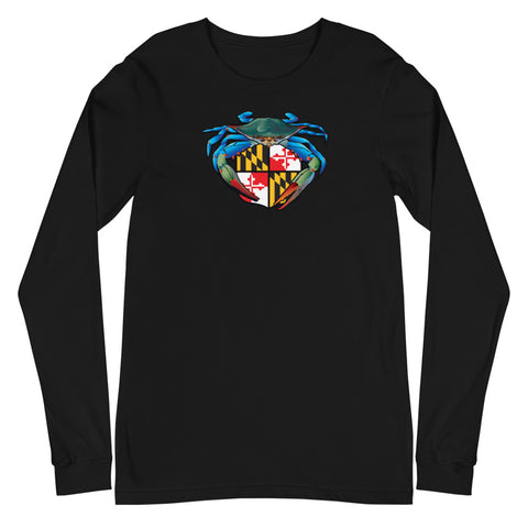 Blue Crab Maryland Crest, Unisex Long Sleeve Tee