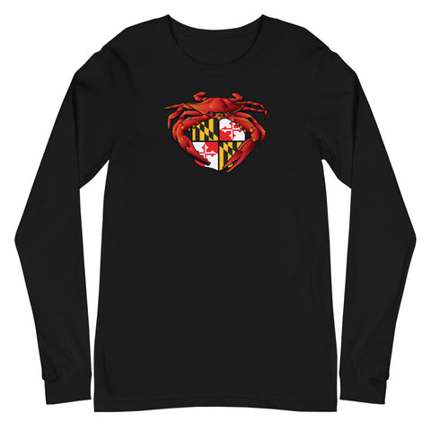 Red Crab Maryland Crest, Unisex Long Sleeve Tee