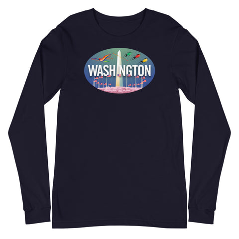 Washington DC skyline Oval, Unisex Long Sleeve Tee