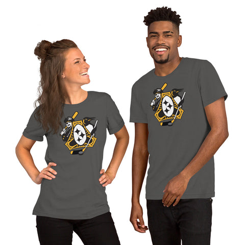 Pittsburgh - Three Rivers Roar Sports Fan Crest - Short-Sleeve Unisex T-Shirt