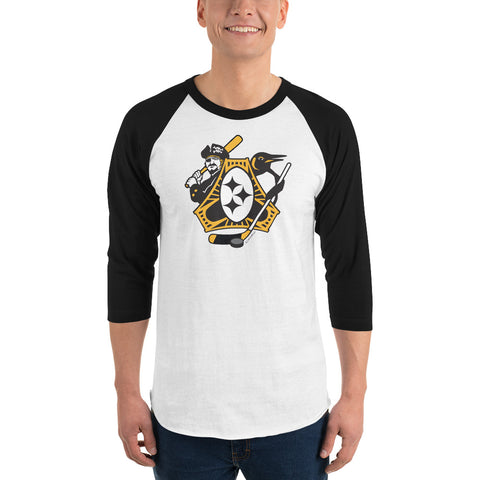 Pittsburgh - Three Rivers Roar Sports Fan Crest - 3/4 sleeve raglan shirt