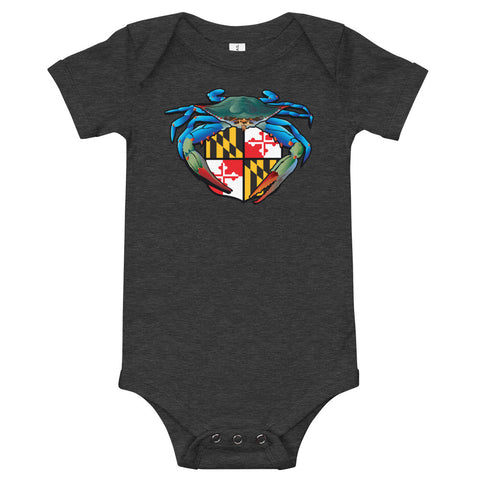 Blue Crab Maryland Crest, Baby Onesie
