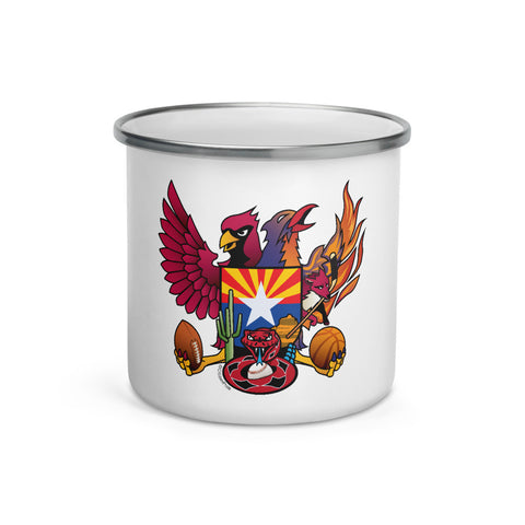 Arizona Sports Fan Crest  - Enamel Mug 12 oz