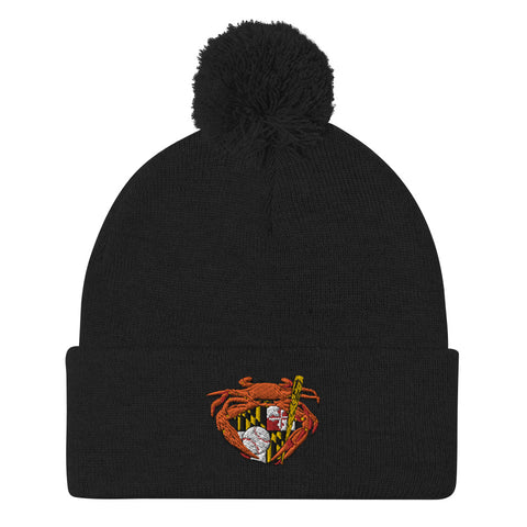 Oriole Baseball Crab Maryland Crest, Embroidered Beanie Pom-Pom