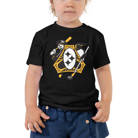 Pittsburgh - Three Rivers Roar Sports Fan Crest - Toddler Short Sleeve Tee