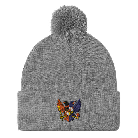 Birdland Baltimore Raven and Oriole MD Shield, Embroidered Beanie Pom-Pom
