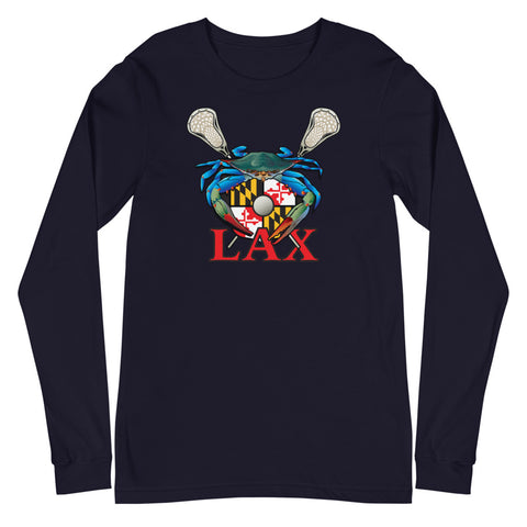 Blue Crab Maryland Lax Crest, Unisex Long Sleeve Tee