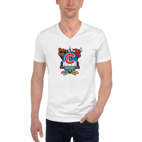 Chicago Sports Fan Crest - Unisex Short Sleeve V-Neck T-Shirt