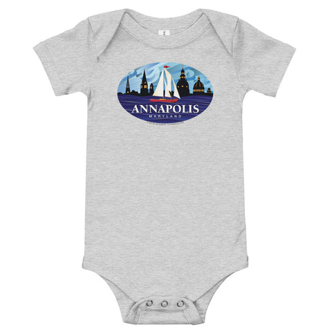 Annapolis Red Sailboat Oval, Baby Onesie
