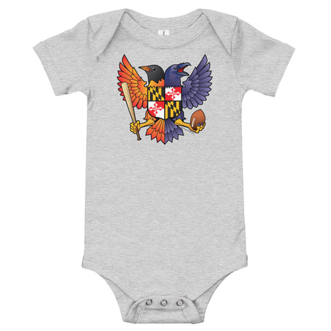 Birdland Baltimore Raven & Oriole Maryland Crest - Baby One Piece
