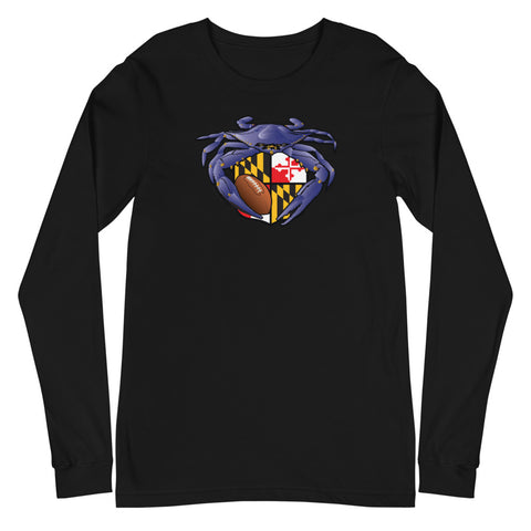 Raven Crab Football Maryland Crest, Unisex Long Sleeve Tee