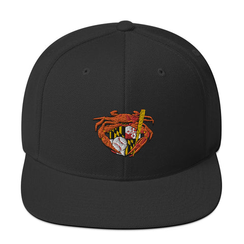 Oriole Baseball Crab Maryland Crest, Embroidered Snapback Hat