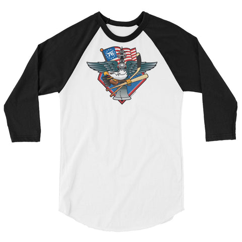 Fly, Philly, Fly! Sports Fan Crest - Unisex 3/4 sleeve raglan shirt