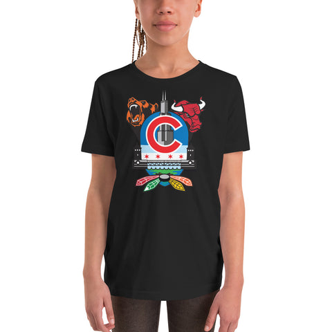 Chicago Sports Fan Crest - Youth Short Sleeve T-Shirt