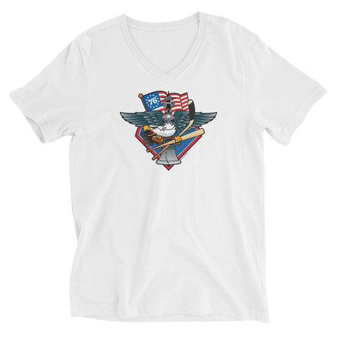 Fly, Philly, Fly! Sports Fan Crest - Unisex Short Sleeve V-Neck T-Shirt