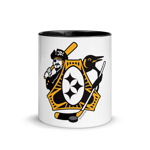 Pittsburgh - Three Rivers Roar Sports Fan Crest - Mug with Color Inside