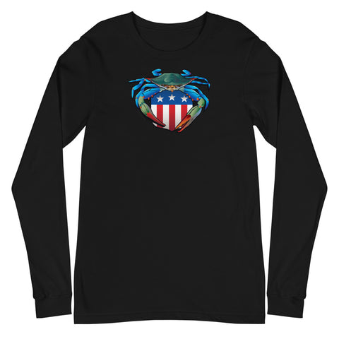 Blue Crab USA Crest, Unisex Long Sleeve Tee