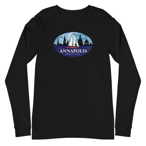 Annapolis Red Sailboat Oval, Unisex Long Sleeve Tee
